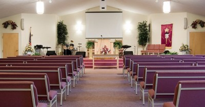 An empty church, 90 percent of protestant churches didn't meet in April