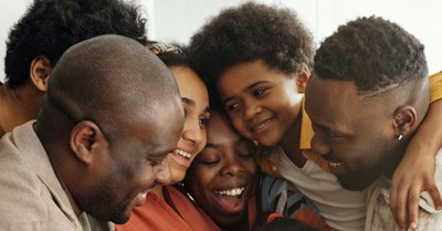 family gathering group hug