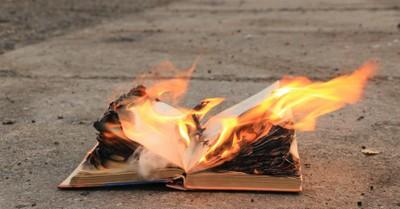 Burning Book, protestors burn Bibles
