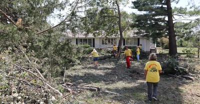 Damage from the Derecho storm in Iowa, Faith-Based organizations arrive in Iowa to help them rebuild