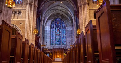 Inside of a church, Episcopalians Are Attending Church Less but Giving More