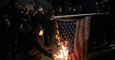 protestors in Portland burning an American flag, Protestors destroy Church