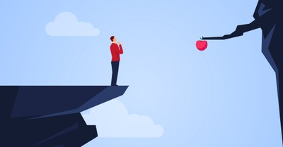 Man on the edge of a cliff looking toward an apple, Are you about to wreck your life?