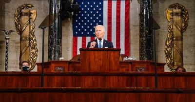 Joe Biden, Biden delivers first speech before a joint Congress