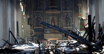 The Mission Church after being burned, Man arrested in San Gabriel Mission fire
