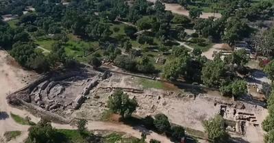 The excavated basilica floor, IAA unearths an ancient basilica