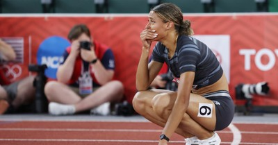 Sydney McLaughlin, McLaughlin praises God after breaking the world record for the women's 400 meter hurdle in the Olympic trials