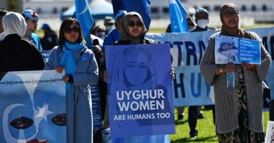 People protesting against Uyghur genocide
