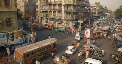 A busy street in Pakistan, a kidnapped Pakistani girl is given to kidnapper by court