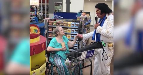 Elderly+Woman+Sings+Duet+With+Elvis+Impersonator+In+Walmart