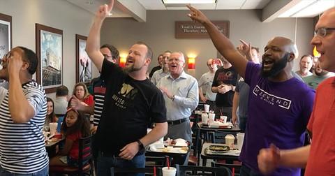 4+Men+Start+Gospel+Flash+Mob+At+Chick-Fil-A