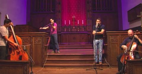 Trio+Of+Men+Perform+%27Hallelujah%27+Cover+In+Church