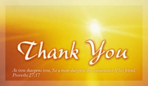 Thank You - Pro. 27:17