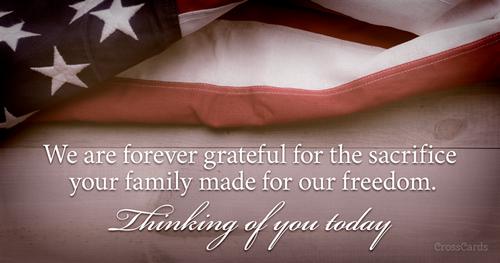 Honoring family's sacrifice ecard, online card