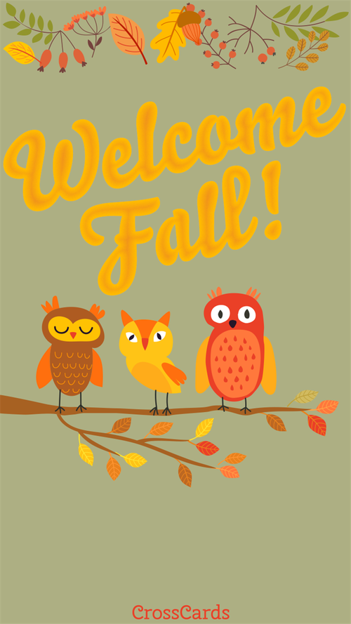 Welcome Fall Owls! ecard, online card