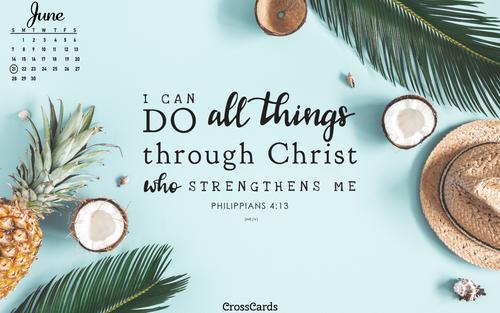 June 2020 - Philippians 4:13 ecard, online card