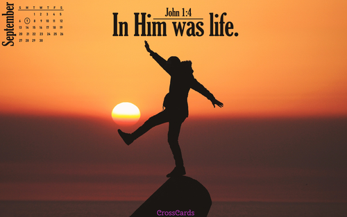 September 2020 - In Him Is Life ecard, online card