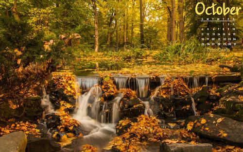 October 2020 - Autumn Waterfall ecard, online card