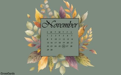 November 2020 - Watercolor Leaves ecard, online card