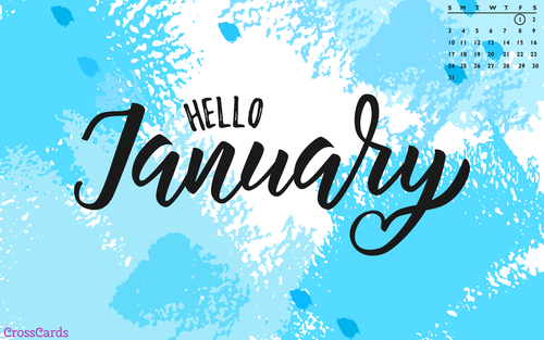 January 2021 - Hello January ecard, online card