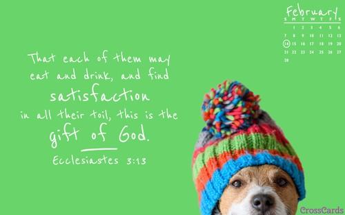 February 2021 - Ecclesiastes 3:13 ecard, online card