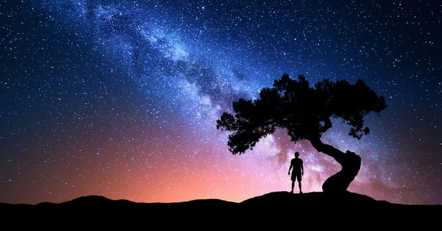 silhouette of man against starry sky, the angel of the LORD