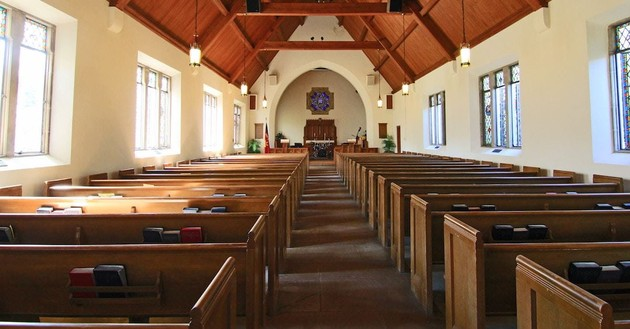 inside of a church, faith comes by hearing
