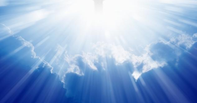 christ ascension in cloud sunbeams heaven