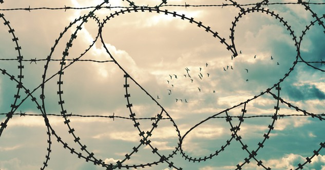 barbed wire in heart shape to signify breaking free of sin