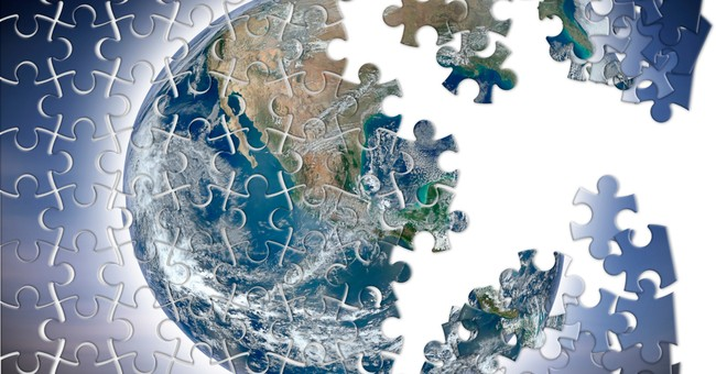 unfinished puzzle of the world to signify a broken world