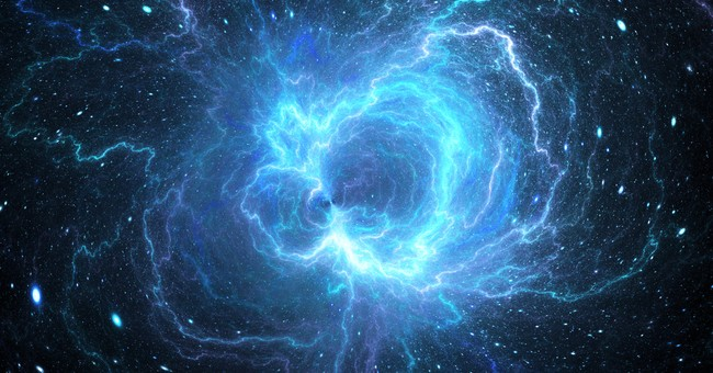 blue glowing energy field in space God or science