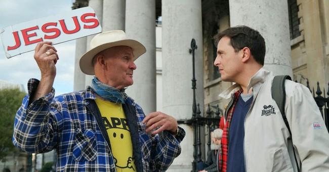 two men talking evangelize gospel