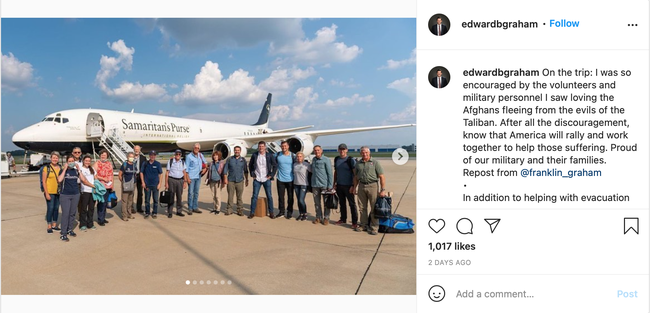Edward Graham and team standing in front of a plane and bringing aid to Afghans