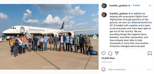 Franklin Graham and team standing outside of plane and bringing aid to Afghans