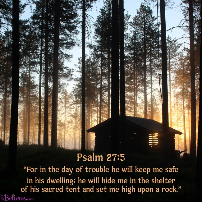 Psalm 27:5, inspirational image