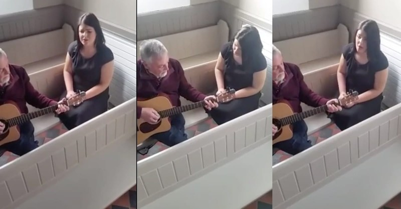 Father And Daughter Sing Irish Folk Song In Empty Chapel