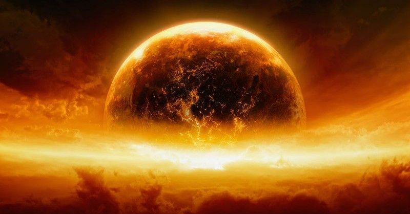 world on fire in end times graphic, Revelation