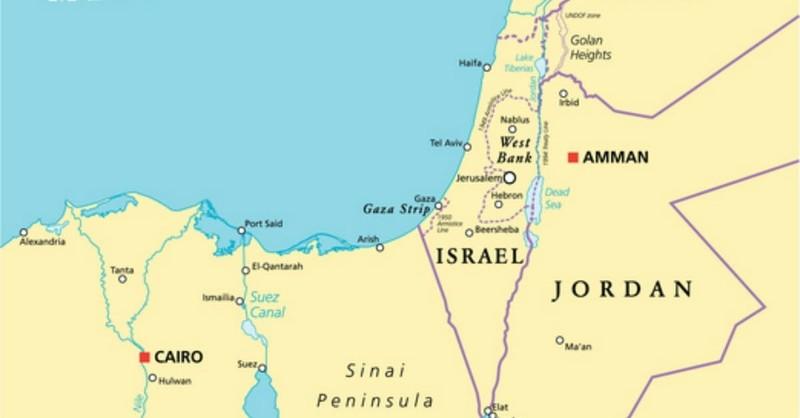 Map of Israel showing Israel and Jordan, tribe of Judah