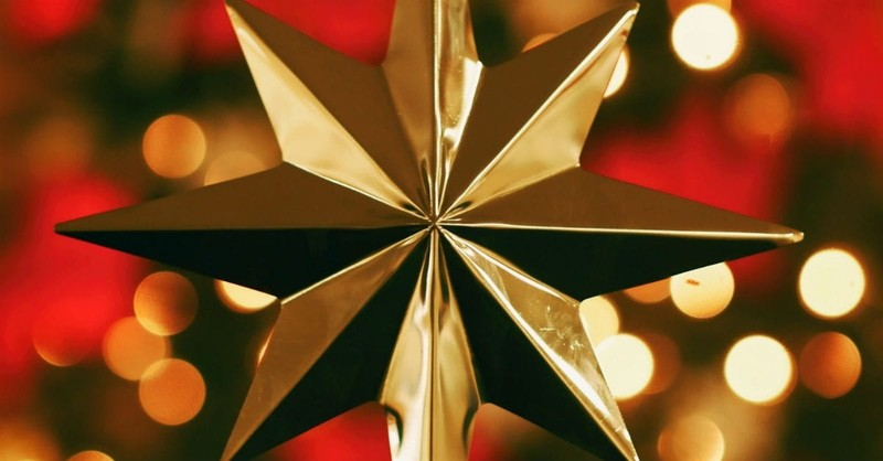 Gold Christmas Star with red background, What is Christmas, Christmas meaning