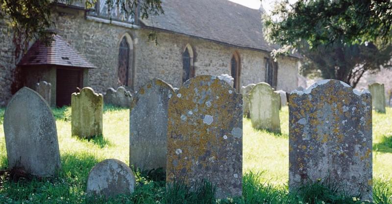 Line of tombstones in a graveyard