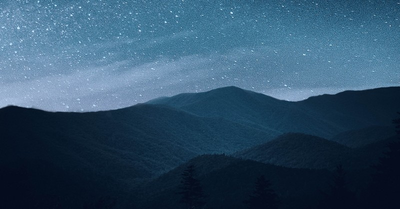mountain landscape with starry night sky, God of the hills and valleys