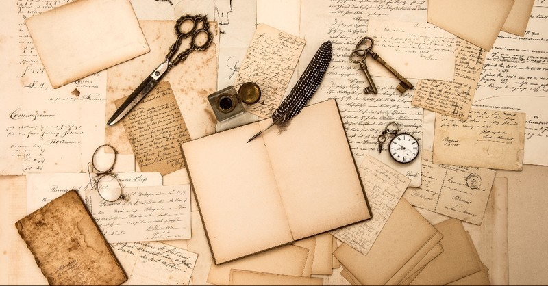 letters, ink, quill, keys, and pocket watch