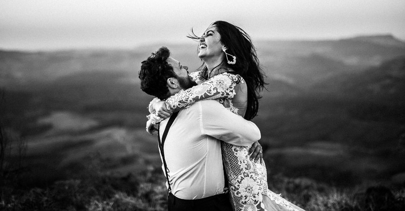 happy couple on a mountain