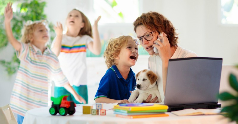 homeschooling mom and kids stress laptop