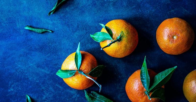 oranges on blue table