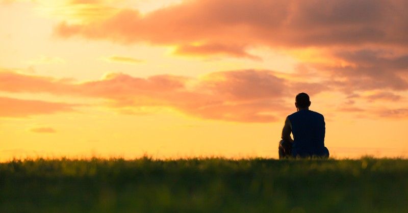 nature view of man at sunset on grass outdoors