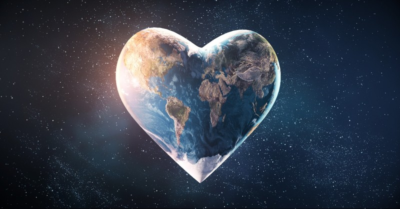 The world in a heart shape