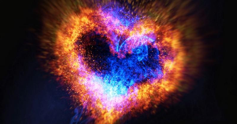 radiant glowing multicolor heart light love