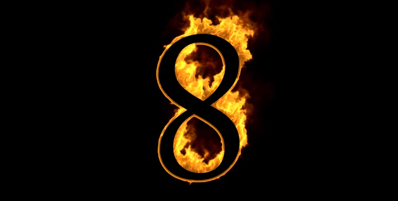 number 8 on fire to represent 8 things about Satan