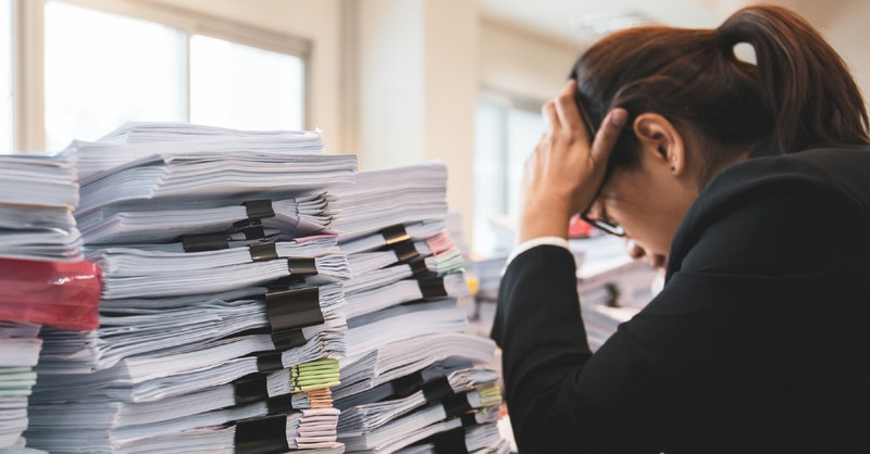 workaholic woman stressed